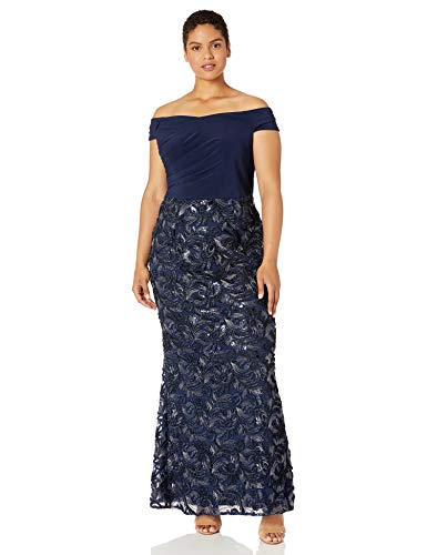 Adrianna Papell Women's Plus Size Soutache Long Dress, Midnight, 22