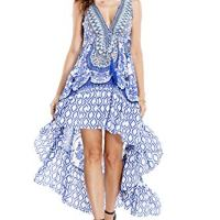High Low Maxi Dress Features Lightly Ruffled high Low Tulip Hem, tie at Bus, and Low v-Cut Back
