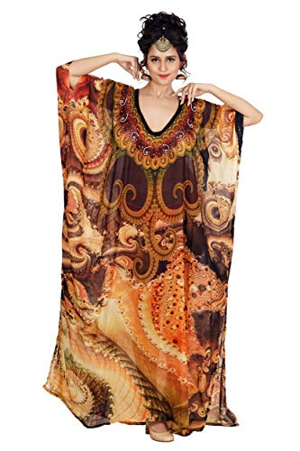 Silk kaftan Round Necked Long with Elegant Print and Sober Look Beach wear Cover up Resort wear Kaftan 370