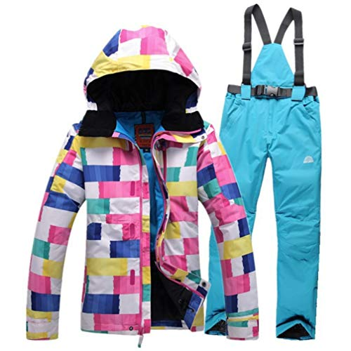 Womens ski Suits Jackets Colorful Wave Pattern Waterproof Windproof Breathable Snowboard Sets Skiing
