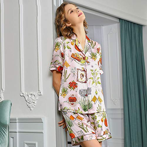 ZWLXY Short-Sleeved Pajamas Women's Home Suit Ladies' Pyjamas Home Suit Home Clothes Sexy Woman Pajamas Silk Pajamas for Women Home,B,XL