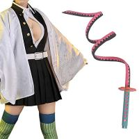 Demon Slayer Cosplay Kanroji Mitsuri Costume Anime Woman Uniform Cloak (S,Clothing + Bendable Sword)