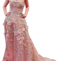 Newdeve Colorful Appliques Beads Strapless Baby Pink Formal Gowns (14W)