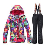 Women's Waterproof Ski Jackets Pants Set Windproof Snowboard Jakets Colorful Printed Snowsuit