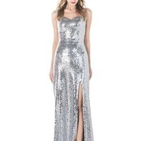 AISLE STYLE Glittering Sparkly Sequin Slit Long Pageant Evening Dress Purple