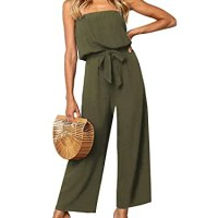 ZESICA Women's Casual Off Shoulder Solid Color Strapless Belted Wide Leg Jumpsuit Romper Army Green