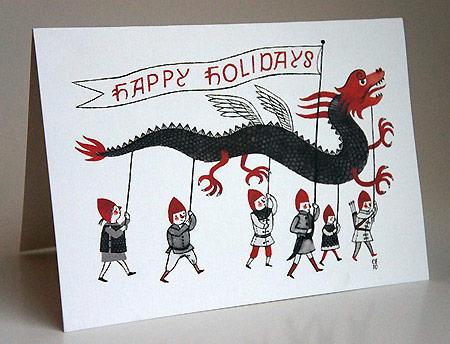 Happy Holidays Dragon Cards