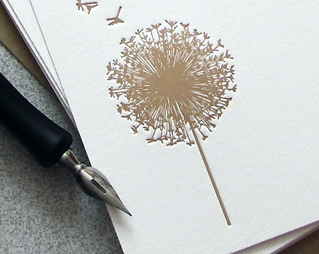 Dandelion Flower Letterpress flat note card from Sweet Harvey
