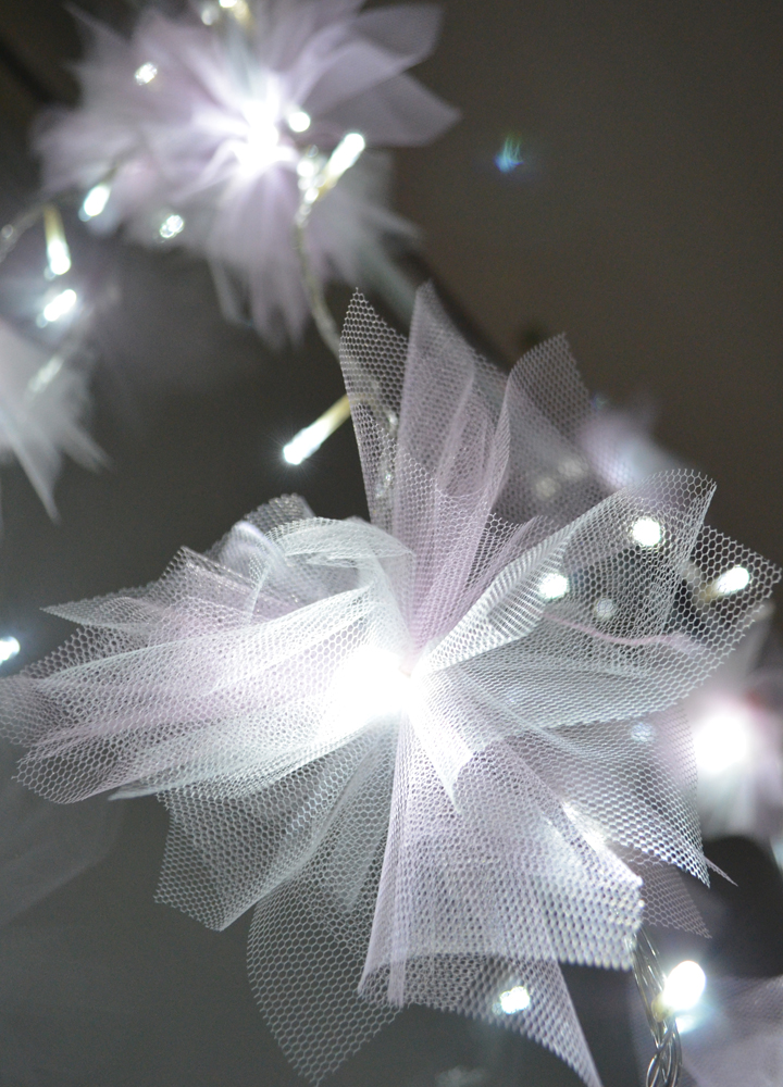 Tulle String Lights Diy : DIY Tulle Flower Fairy Lights Volpe Life