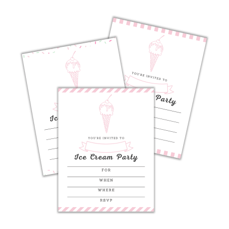 free printable ice cream party invitations