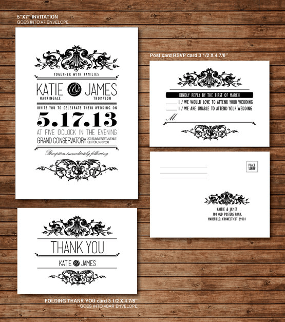 This Victorian Style Wedding Set From Etsy Has An Rsvp Postcard That S As Cly And