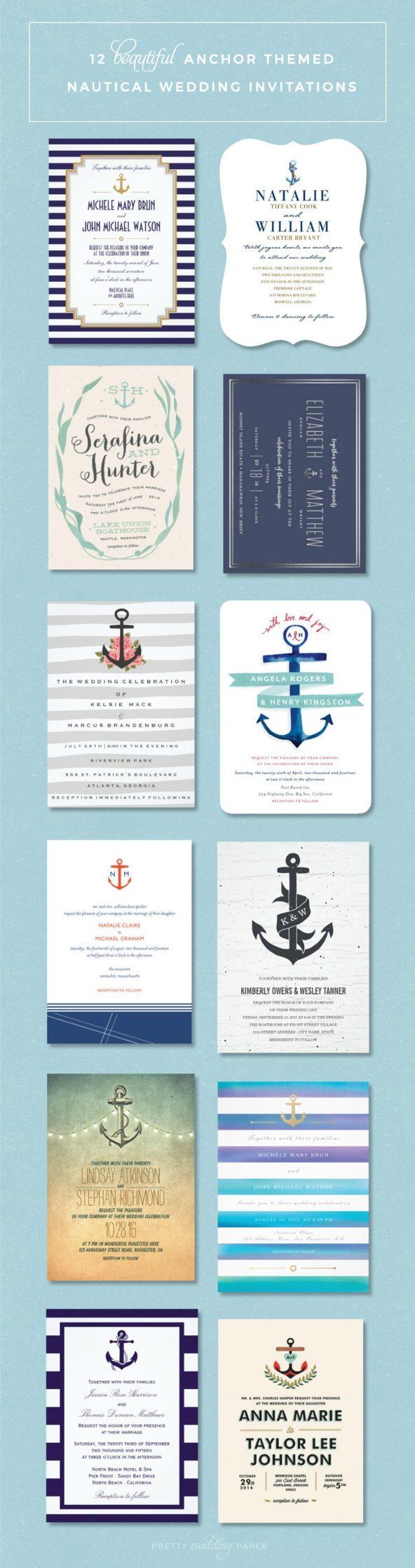 Nautical Wedding Invitations Bridal Shower