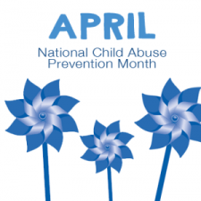 APril is Child Abuse Prevntion Month with three blue pinwheels