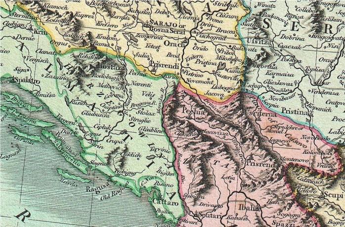 Deo mape Balkana 17. vek