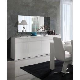 buffet bahut enfilade 4 portes et 4 tiroirs miroirs fabio blanc brillant meuble design pour votre salon salle a manger