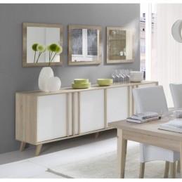 salle a manger complete malmo buffet bahut vaisselier 3 x miroirs table 160 cm coloris sonoma et blanc mat