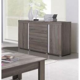 buffet bahut enfilade avignon deux portes trois tiroirs coloris sonoma et blanc meuble design pour salon salle a manger