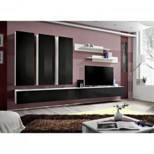 meuble tv fly e1 design coloris blanc et noir noir brillant meuble suspendu moderne et tendance pour votre salon
