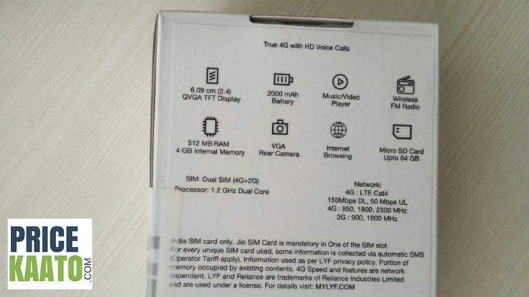 Jio Feature Phone's Actual Specifications Revealed Through It's Retail Box Image