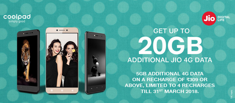 Reliance Jio Offering Upto 20GB Free 4G Data With All Coolpad 4G SmartPhones