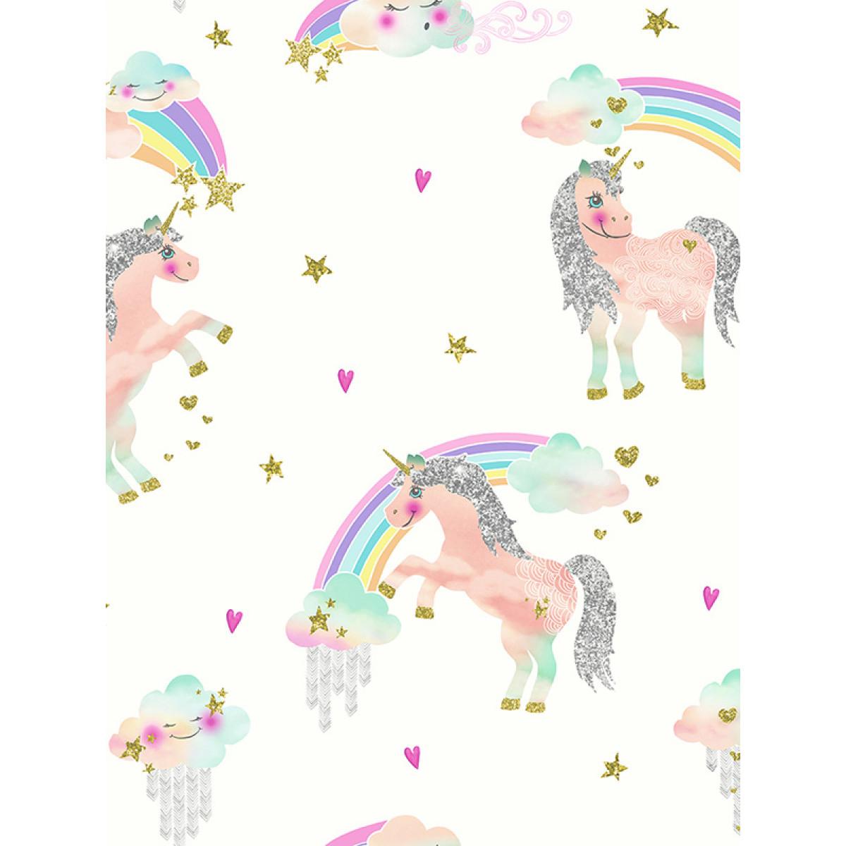 Rainbow Unicorn Glitter Wallpaper White Arthouse 696109 Bedroom