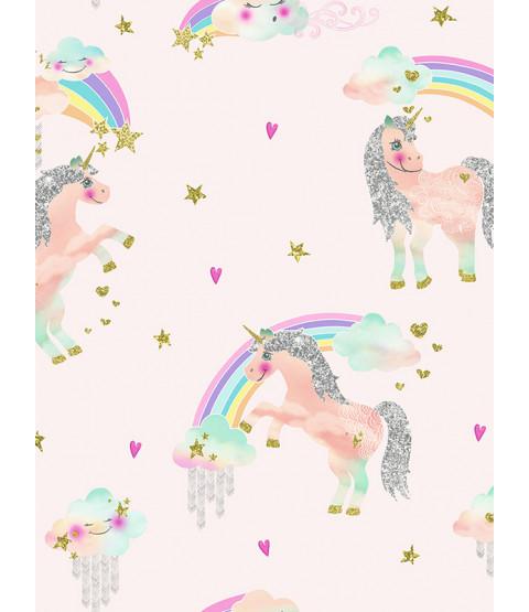 Rainbow Unicorn Glitter Wallpaper Pink Arthouse 696108