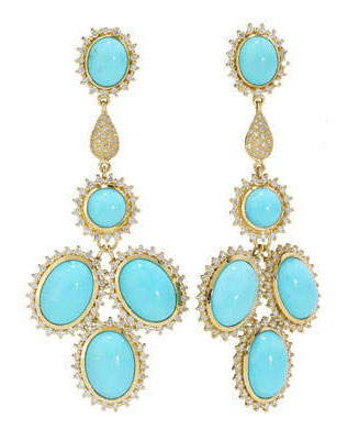 Turquoise And Diamond Chandelier Earrings In 18ct White Gold Source Elizabeth Showers Brings May Flowers For Spring