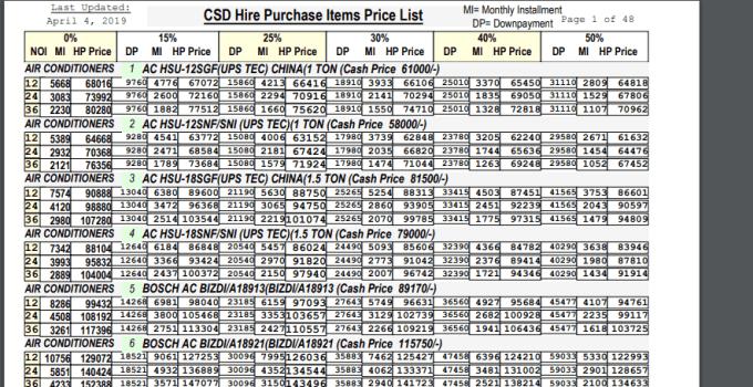 CSD Price List 2019 CSD Hire Purchase Items Price List