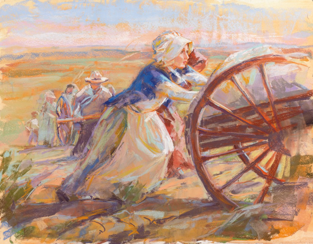 Women Pushing Handcart via lds.org