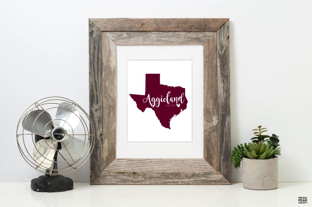 Aggieland has my Heart Art Print | Prickly Pear Design Co. | Digital Art Print | Texas A&M Art print | Texas Aggie Grads