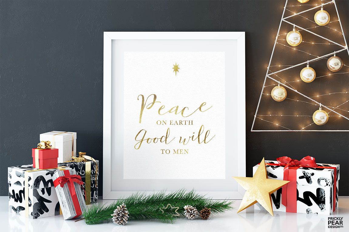 Peace On Earth Good Will to Men Print | Christmas Print | Holiday ...