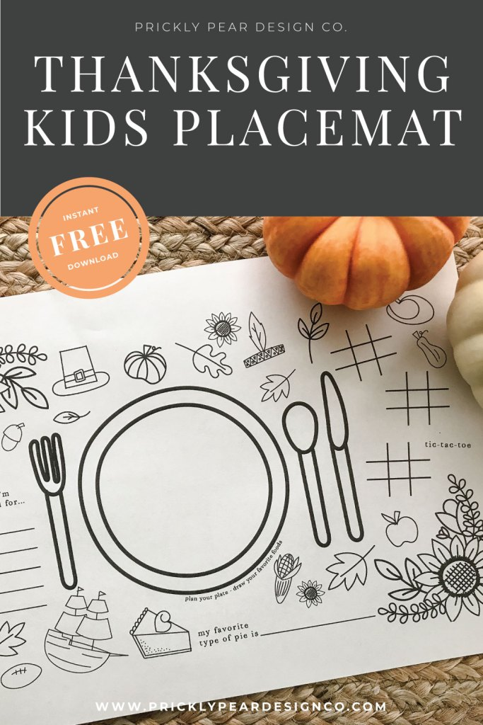 Thanksgiving Placemat/Activity Sheet for Kids