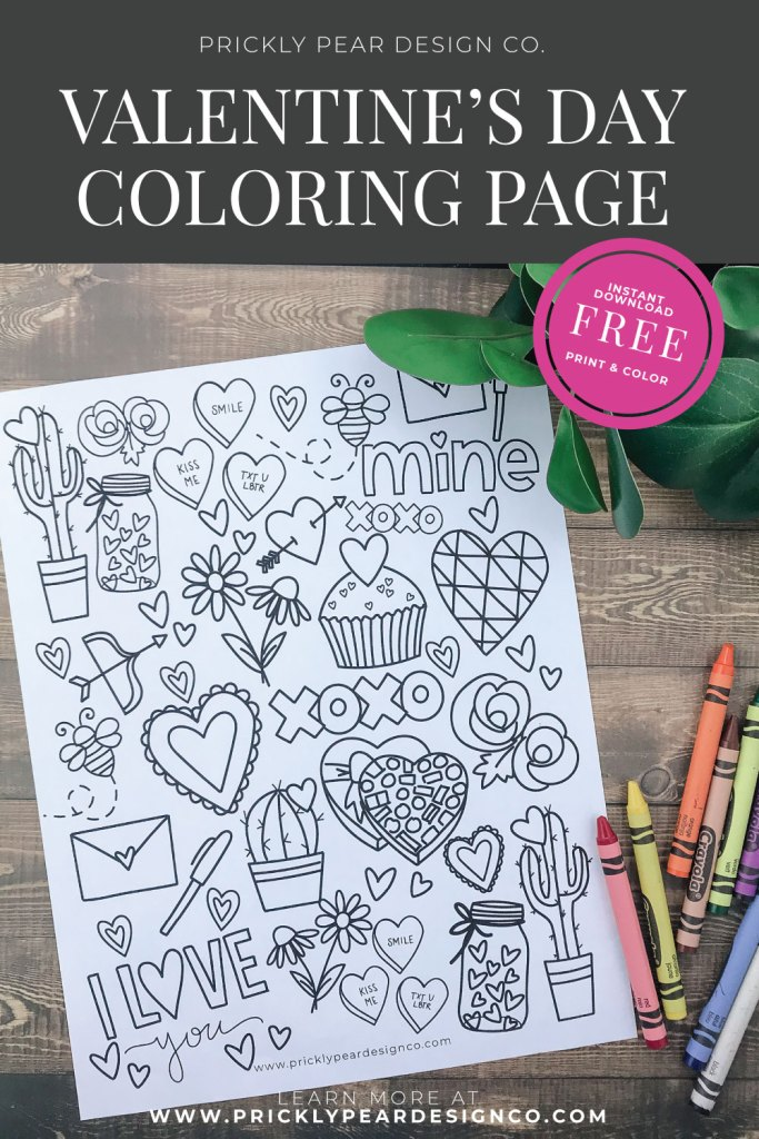 Valentine's Coloring Page from Prickly Pear Design Co.