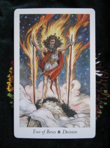 Numbers 2 from the Suit of Bows, Wildwood Tarot