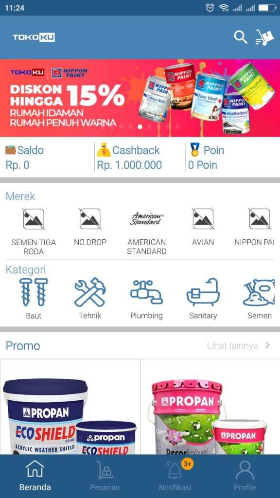 Aplikasi Online Shop (E-commerce) Toko Bangunan