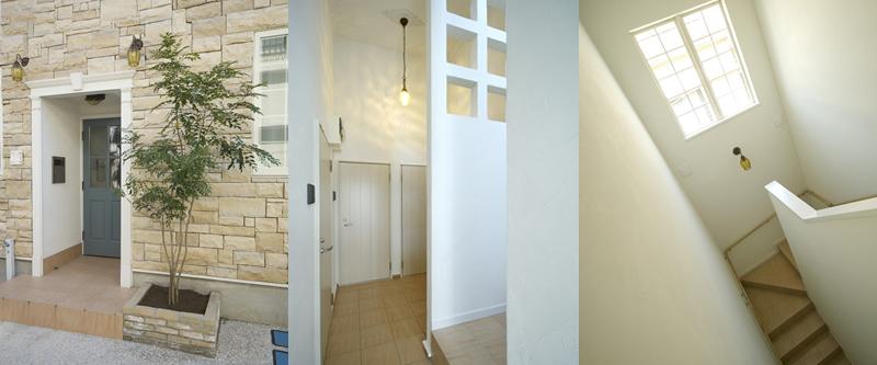 プリマ壱番館 オートリックのある共用玄関、内廊下、内階段