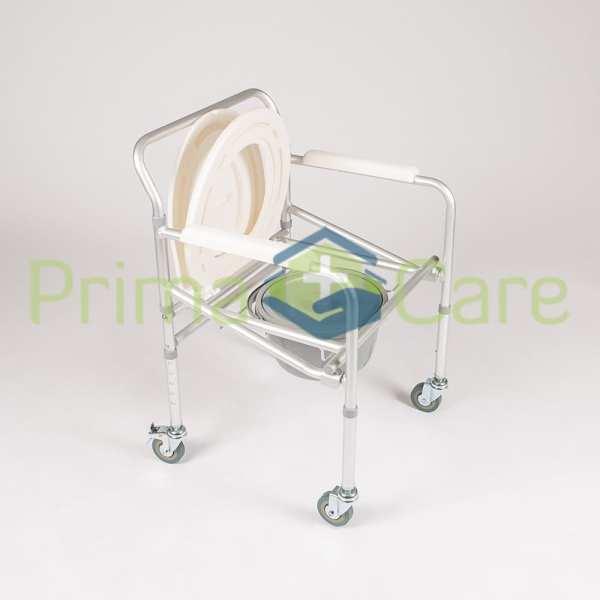 Commode - Aluminium - Folding - With Wheels - Seat up