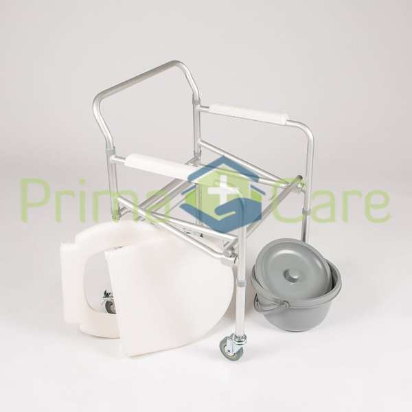 Commode - Aluminium - Folding - With Wheels - removable parts