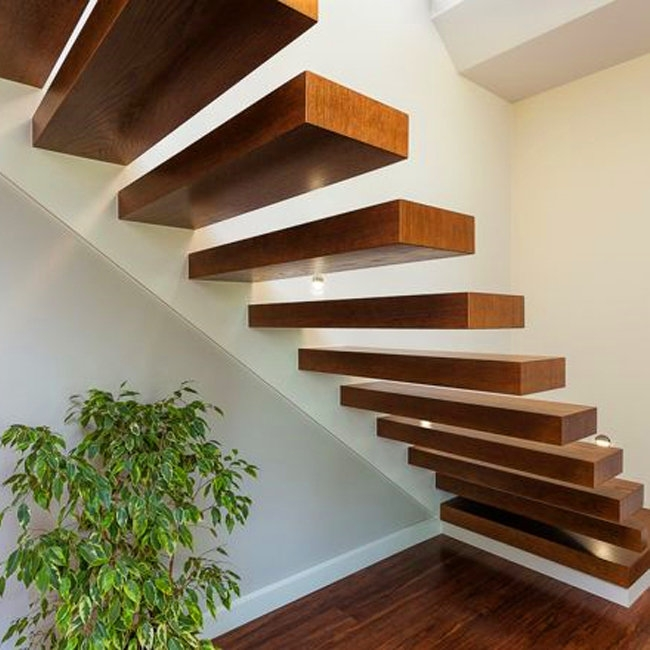 Construction Building Invisible Stringer Timber Stair Loft | Solid Oak Stair Stringers | Mono Stringer | Handrail | Steel Stair | Deck Stairs | Flooring