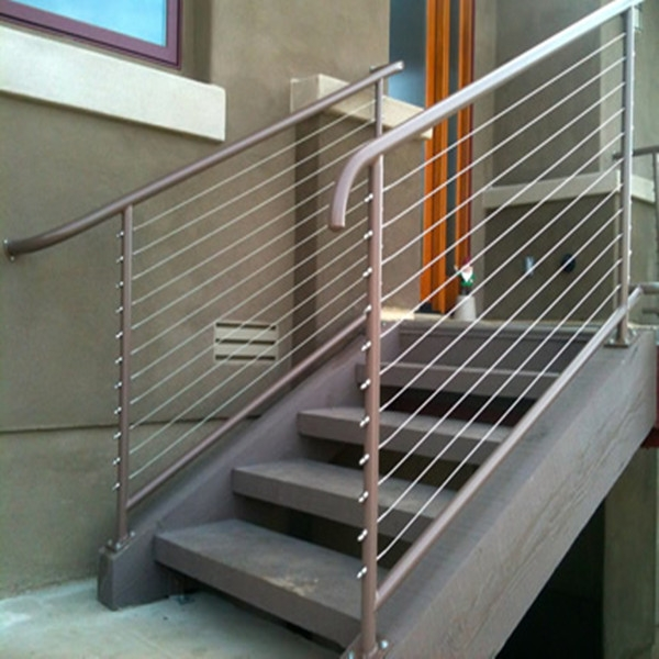 Stainless Steel Wire Raiing Cable Balustrade Tension Wire Railings | Wrought Iron Rope Handrail | Twisted | Rope Twist | Porch | Brackets | Unlacquered Brass