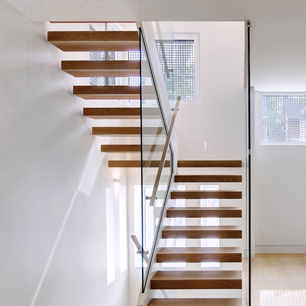 Floating Stair Solid Wood Treads Floating Stair Glass Balustrades   Solid Wood Steps For Stairs   Staircase   Iron Rod   Oak Veneer   Rounded   Stained