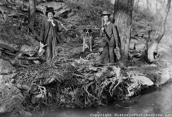 Hunters butchering kill