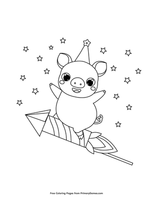 Pig On A Rocket Coloring Page Free Printable Pdf From Primarygames