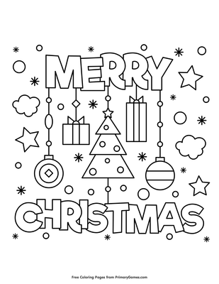 Merry Christmas Coloring Page Free Printable Pdf From Primarygames