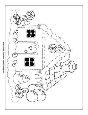 Gingerbread House Coloring Page Free Printable Pdf From Primarygames