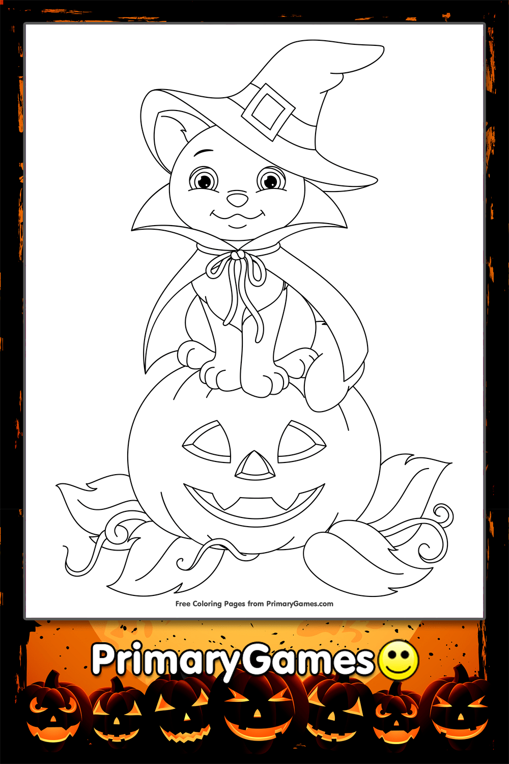 halloween coloring page cute bat on pumpkin primarygames play