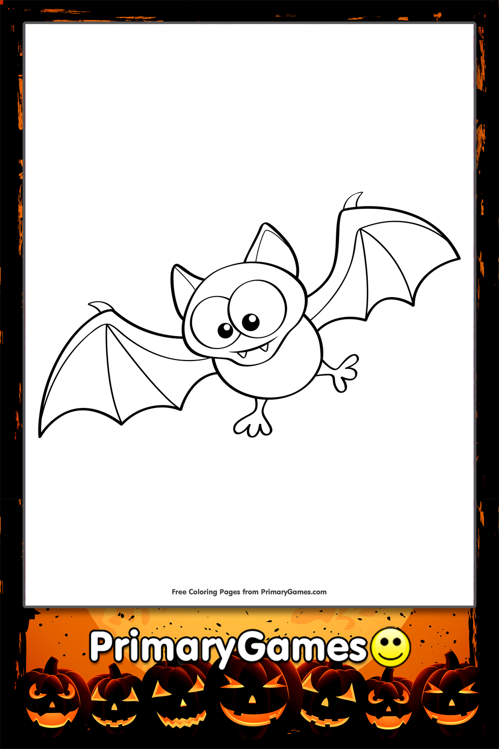 halloween coloring page cute bat primarygames play free online