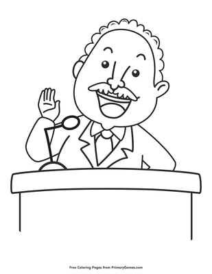 Martin Luther King Jr Speaking Coloring Page Free Printable Pdf From Primarygames