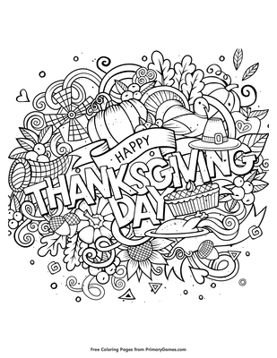 Happy Thanksgiving Day Coloring Page Free Printable Pdf From Primarygames
