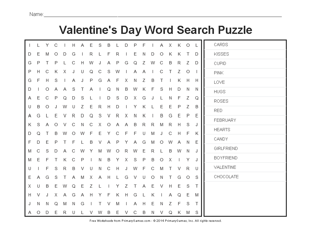 Valentines Day Worksheets Valentines Day Word Search
